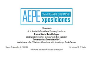 "Invitation for the presentation of the book ""BEHAVIOUR GRADE: ZERO"" at AEPE's showroom in Madrid"