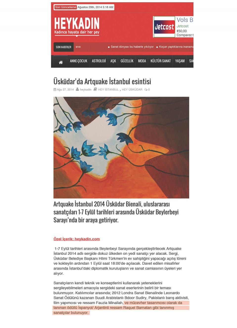 Heykadın Üsküdar'da Artquake İstanbul esintisi. Agosto 2014